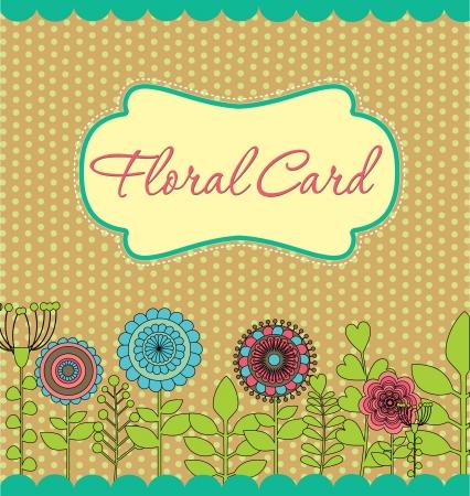 cute border: floral greeting card illustration