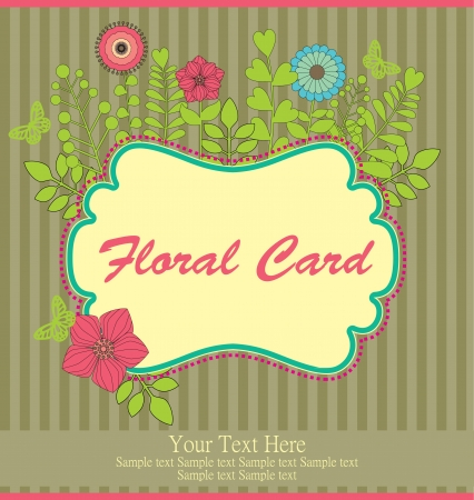 floral greeting card illustration Vector