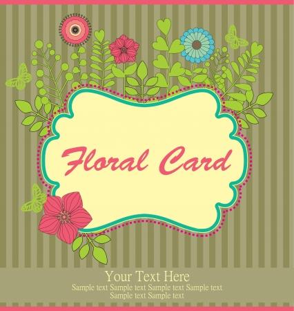 birth day: floral greeting card illustration
