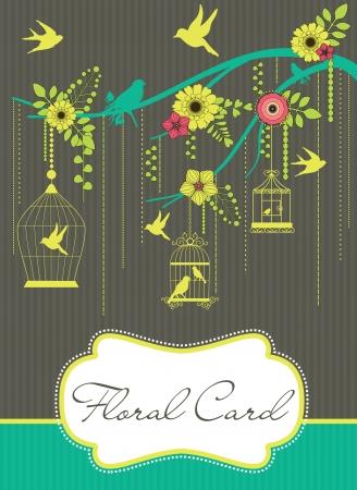 floral greeting card illustration Vector