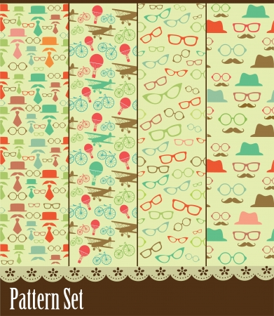 bike cover: retro pattern collection. vector illustration
