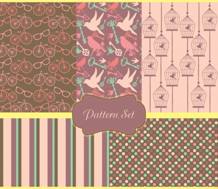 vintage pattern set. vector illustration Vector