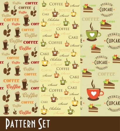 cofffee: retro coffee pattern collection. vector illustration Illustration