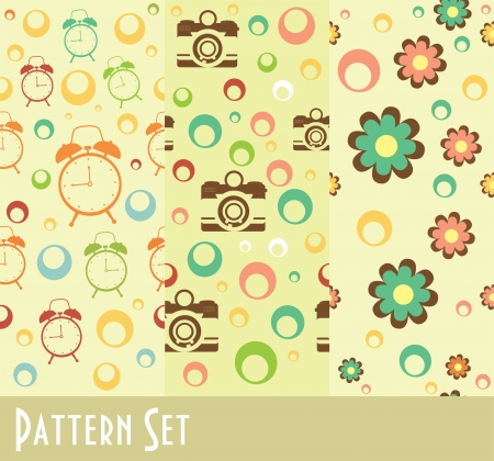 vintage clock: retro pattern collection. vector illustration