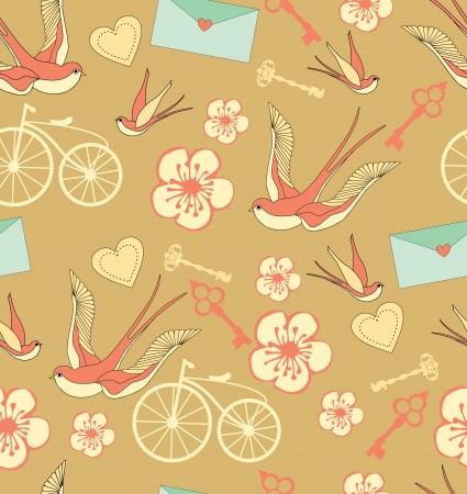 bike cover: romantic pattern. vector illustration Illustration