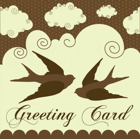 bird fly: cute swallow. card design. vector illustration