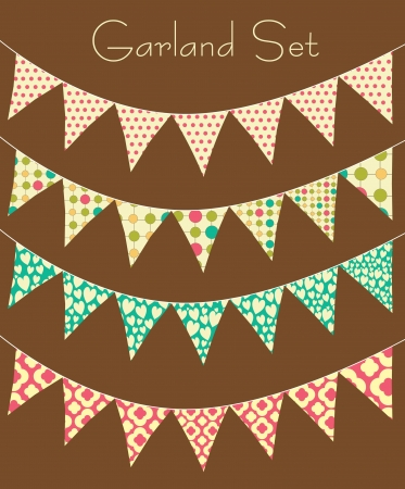 bunting: garland collection. vector illustration Illustration