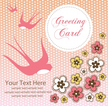 cute swallow. card design. vector illustration Vector