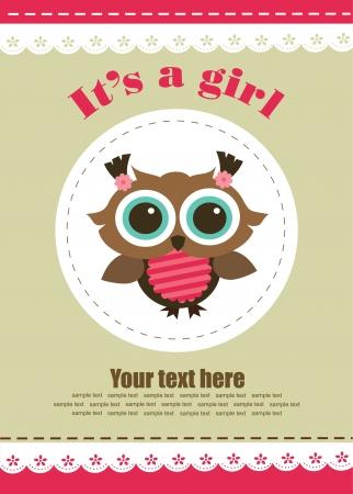 baby girl cartoon: baby girl shower design. vector illustration