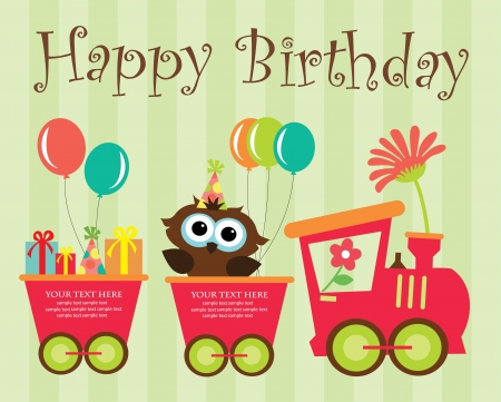 cute cartoon boy: happy birthday card design. vector illustration Illustration