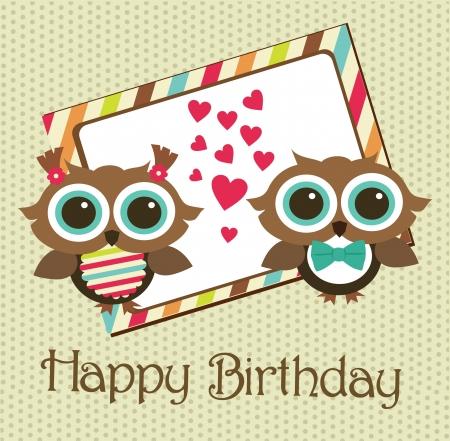 niñas gemelas: diseño de la tarjeta de cumpleaños feliz. ilustración vectorial