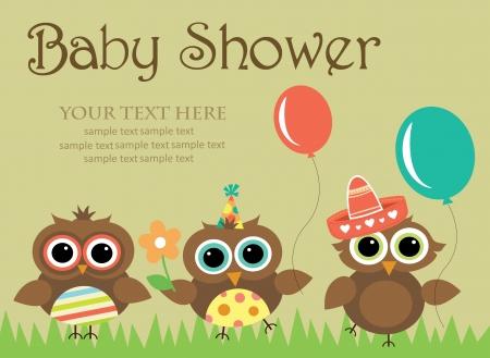 b�ho caricatura: dise�o de la ducha del beb�. ilustraci�n vectorial