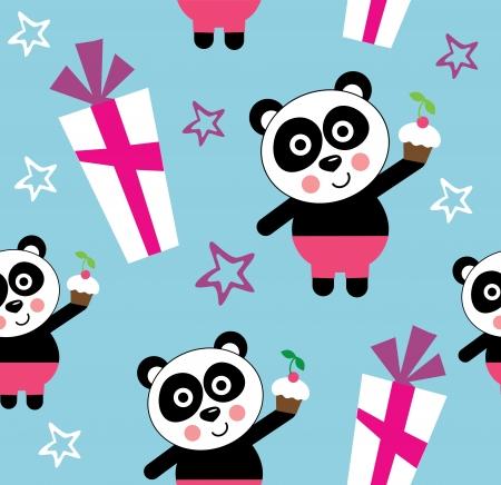 cartoon panda: seamless kid pattern. illustration