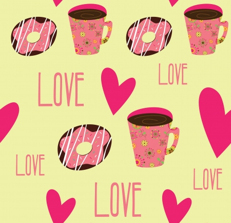 seamless tea time pattern. illustration Vector
