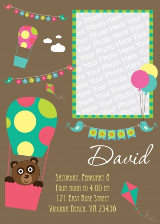 invite congratulate: kid invitation card design. illustration Illustration