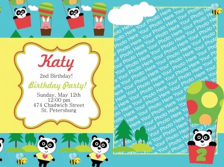 kid invitation card design.  illustration Vector