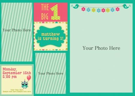 album background: kid invitation card design. illustration Illustration