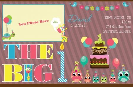 invito compleanno: kid invito carta di design. illustrazione