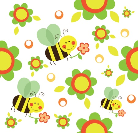 flower clip art: seamless kid pattern.vector illustration Illustration