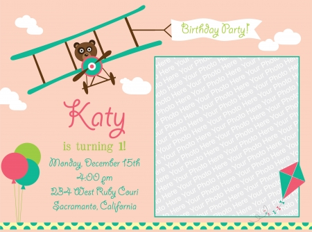 kid invitation card design.  illustration