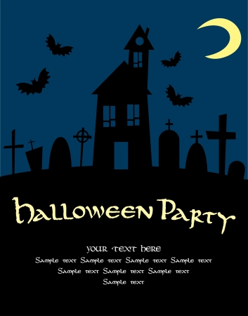 cemetry: halloween card.  illustration Illustration