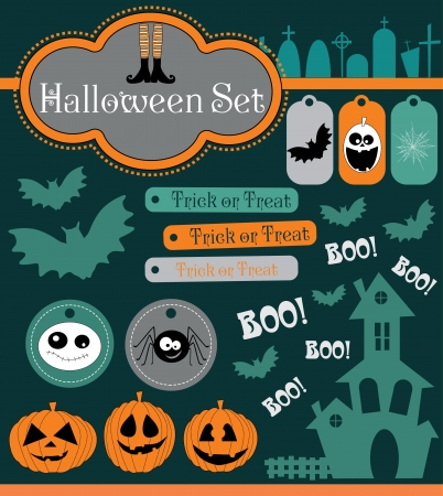halloween set. vector illustration Vector