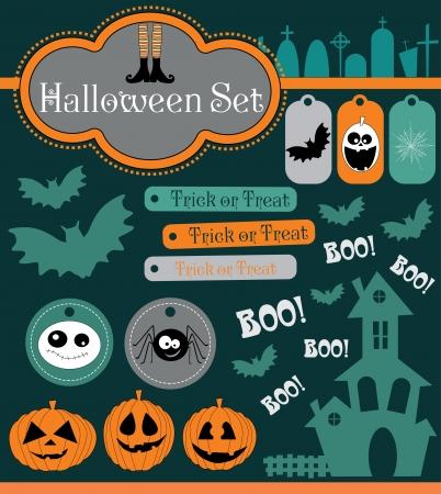 cemetry: halloween set. vector illustration