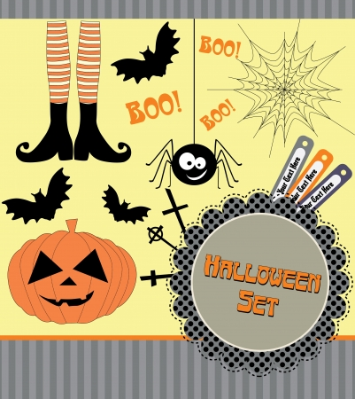 halloween background: halloween set.  illustration