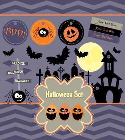 cemetry: halloween set.  illustration