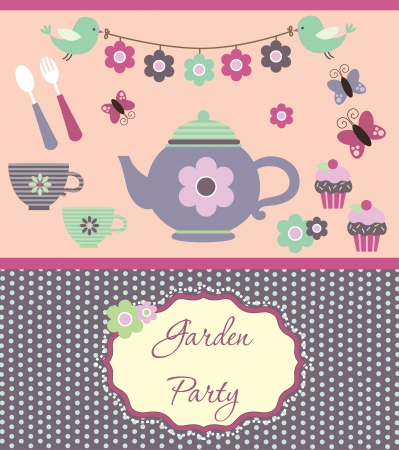 garden party cute collection illustration Stock Vector - 20167261