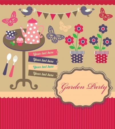 garden party: garden party cute collection illustration
