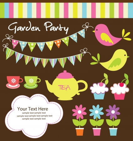 garden design: garden party cute collection  illustration