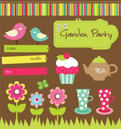 with sets of elements: garden party cute collection illustration