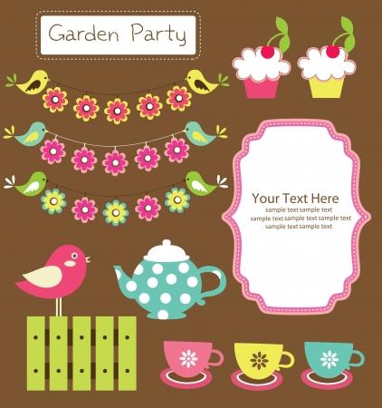 birthday tea: garden party cute collection  illustration