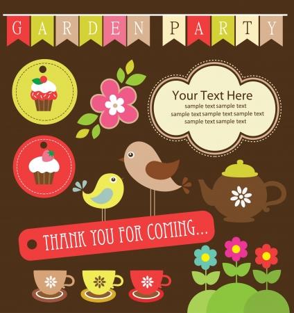 garden party cute collection  illustration Vector