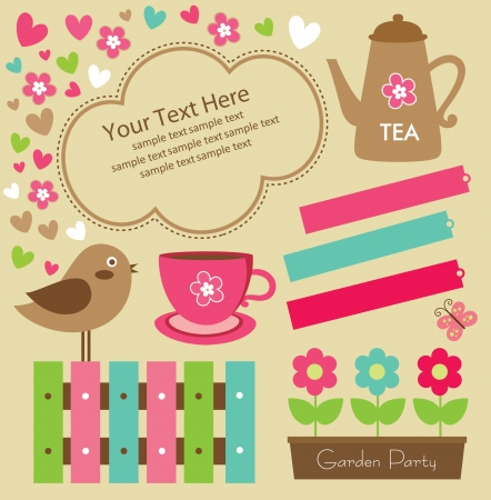 garden party cute collection illustration Vector
