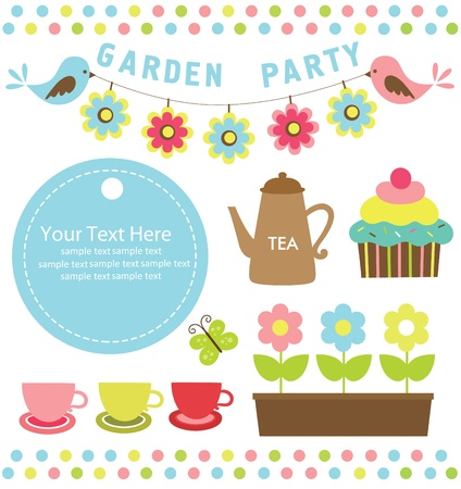 garden party cute collection  illustration Stock Vector - 20167195