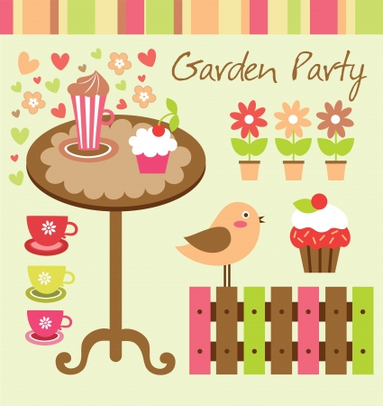 children party: garden party cute collection illustration