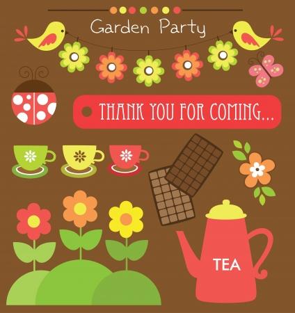 garden party cute collection  vector illustration Vector