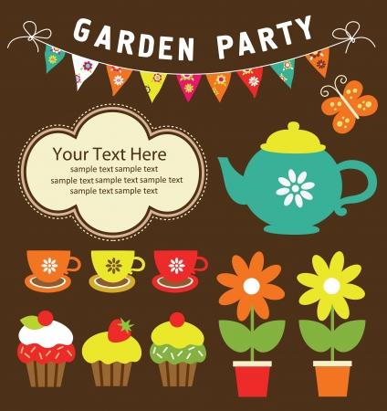tea pot: garden party cute collection  illustration