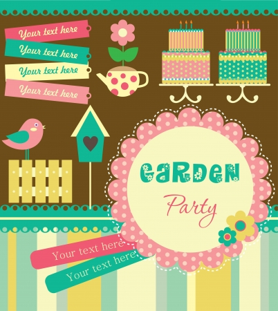 house party: garden party cute collection illustration