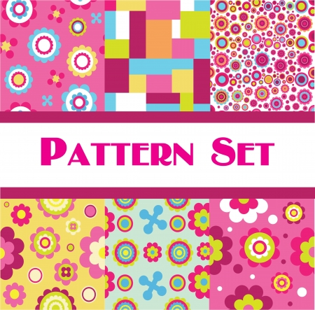 vintage pattern set   illustration Vector