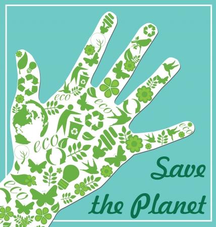 friendly people: ecology card design  illustration