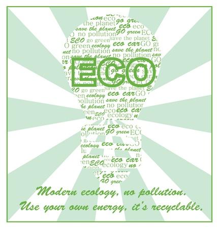 reciclable: tarjeta de ecología ilustración, diseño