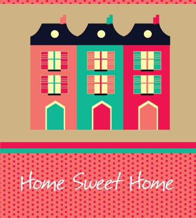 beautiful homes: home sweet home card  vector illustration