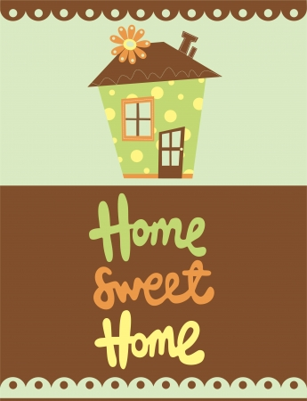 warm home: home sweet home card  vector illustration