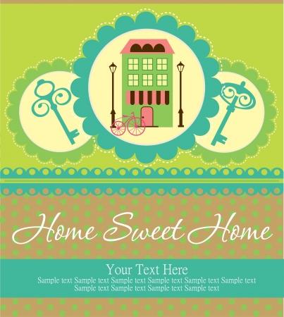 lindo: home sweet home tarjeta de ilustraci?n vectorial Vectores