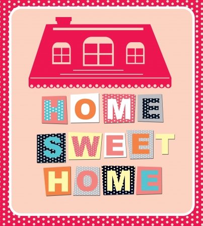 holiday home: home sweet home tarjeta de ilustraci?n vectorial Vectores