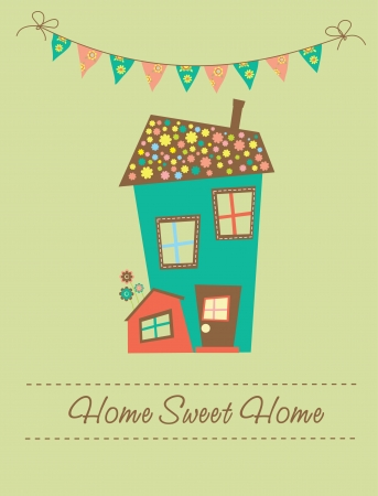 warm house: home sweet home card  vector illustration