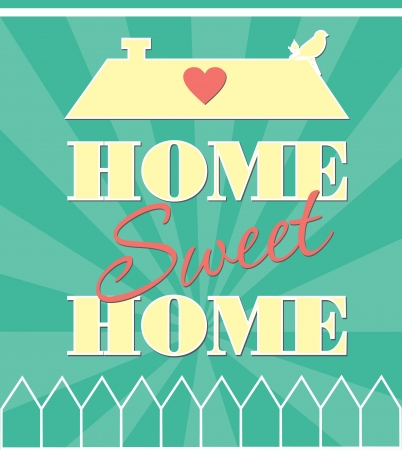 holiday home: home sweet home tarjeta de ilustraci�n vectorial